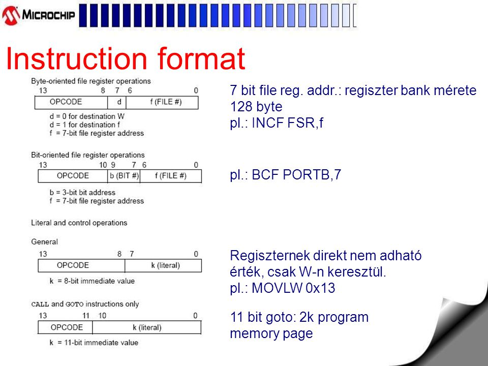 Instruction format 7 bit file reg. addr.: regiszter bank mérete 128 byte pl.: INCF FSR,f. pl.: BCF PORTB,7.