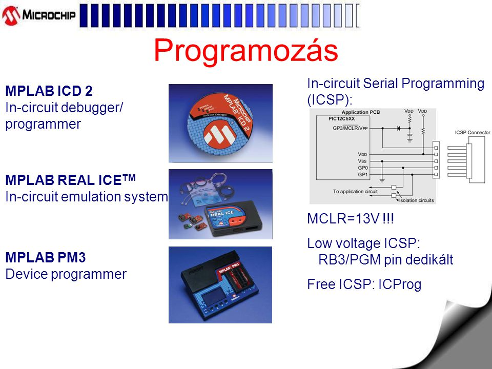 Programozás In-circuit Serial Programming (ICSP):