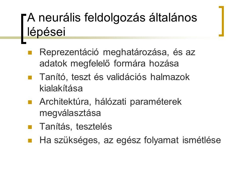 A neurális feldolgozás általános lépései