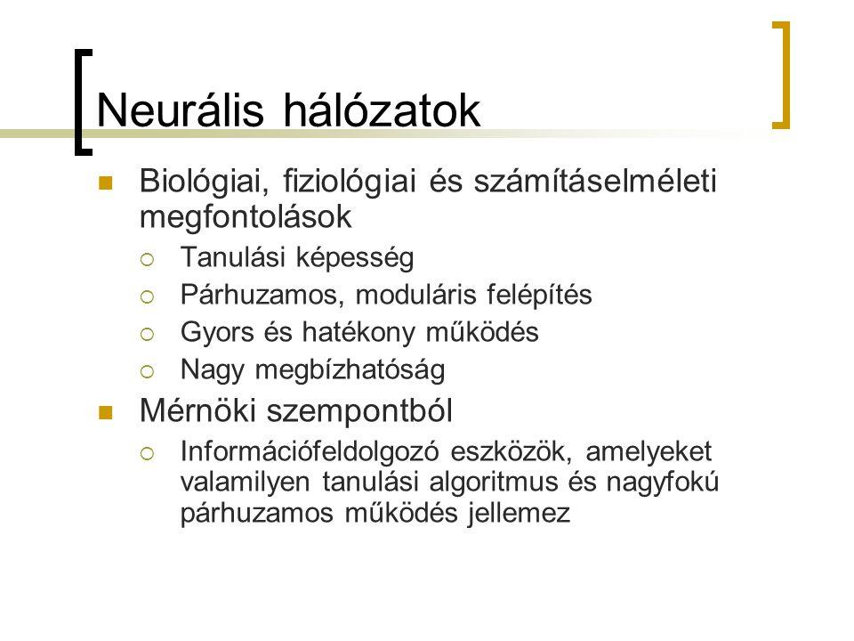 Neurális hálózatok Biológiai, fiziológiai és számításelméleti megfontolások. Tanulási képesség. Párhuzamos, moduláris felépítés.