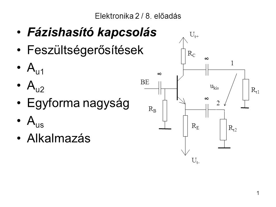 Fázishasító kapcsolás Feszültségerősítések Au1 Au2 Egyforma nagyság