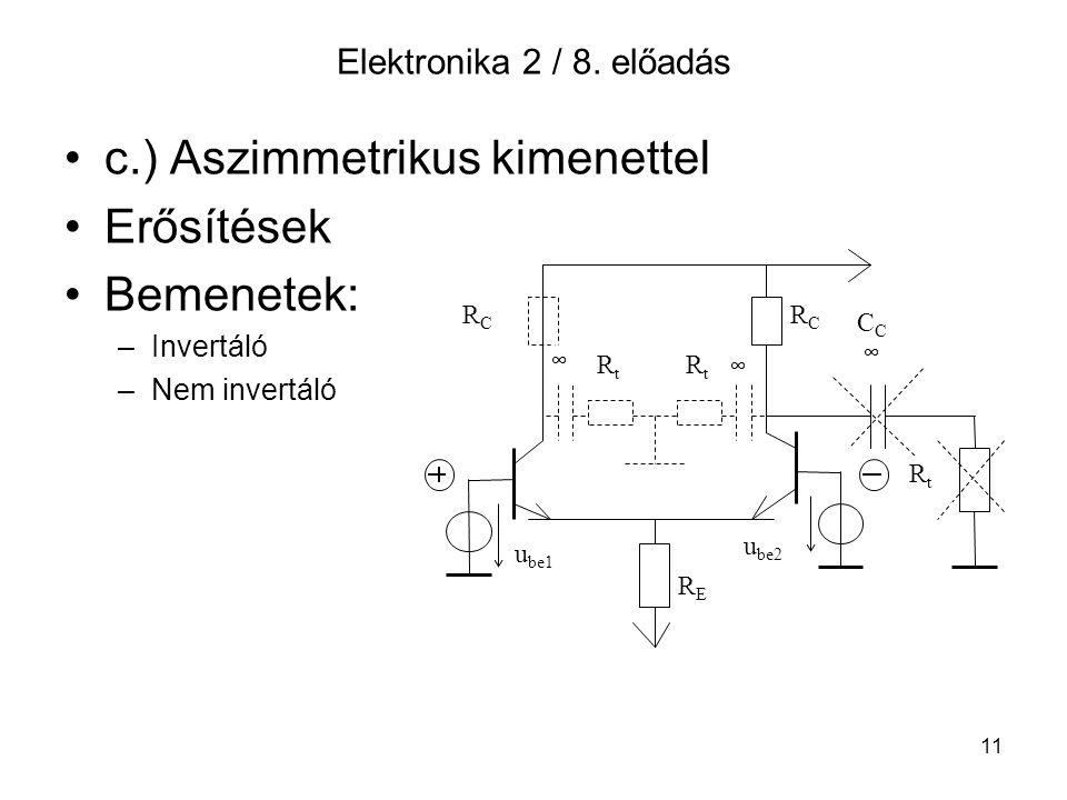 c.) Aszimmetrikus kimenettel Erősítések Bemenetek: