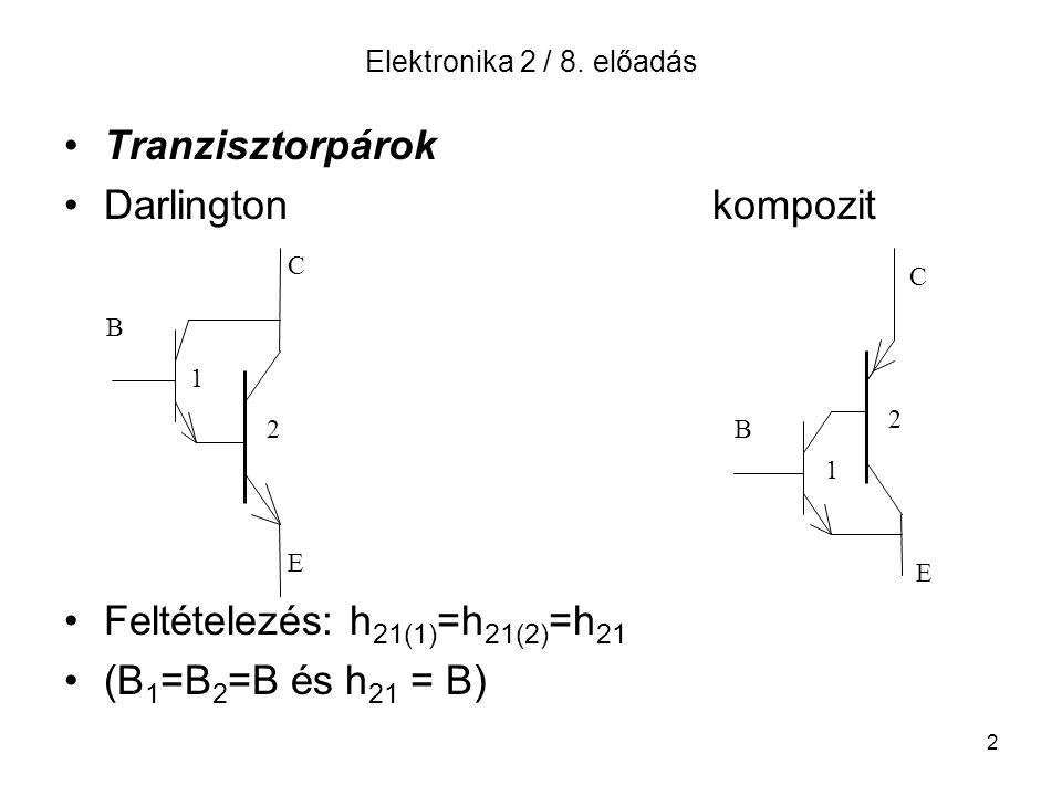 Feltételezés: h21(1)=h21(2)=h21 (B1=B2=B és h21 = B)