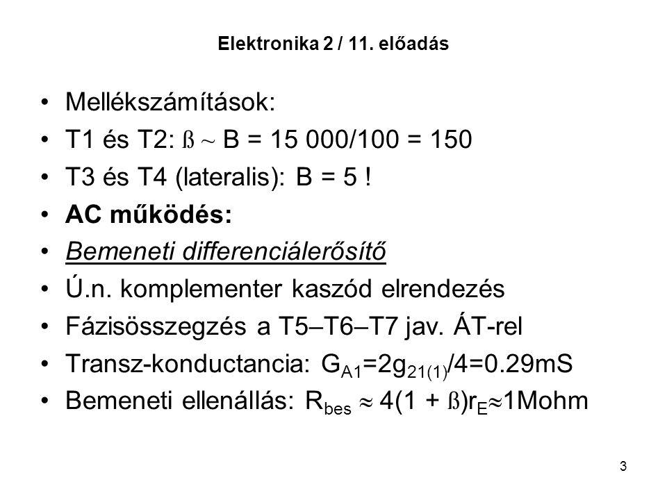 Bemeneti differenciálerősítő Ú.n. komplementer kaszód elrendezés