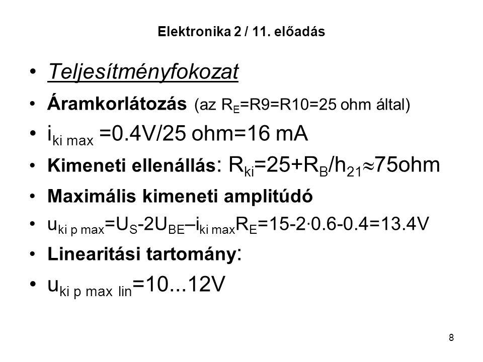 Teljesítményfokozat iki max =0.4V/25 ohm=16 mA uki p max lin=10...12V