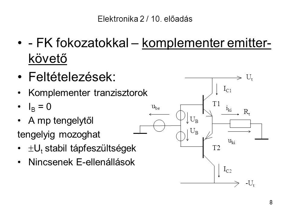 - FK fokozatokkal – komplementer emitter-követő Feltételezések: