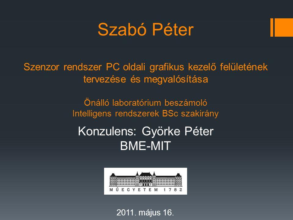 Szabó Péter Szenzor rendszer PC oldali grafikus kezelő felületének tervezése és megvalósítása Önálló laboratórium beszámoló Intelligens rendszerek BSc szakirány Konzulens: Györke Péter BME-MIT BME – MIT 2011.