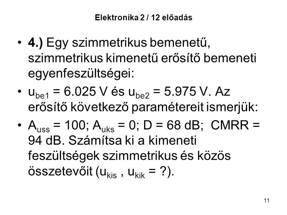 Elektronika 2 / 12 előadás 4.) Egy szimmetrikus bemenetű, szimmetrikus kimenetű erősítő bemeneti egyenfeszültségei: