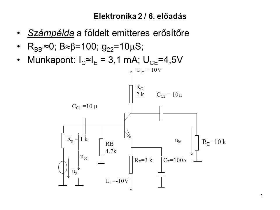 Számpélda a földelt emitteres erősítőre RBB'≈0; B=100; g22=10S;