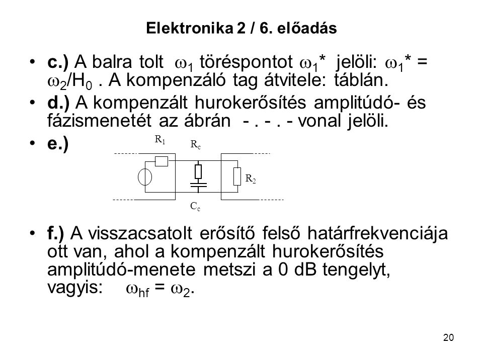 Elektronika 2 / 6. előadás c.) A balra tolt 1 töréspontot 1* jelöli: 1* = 2/H0 . A kompenzáló tag átvitele: táblán.