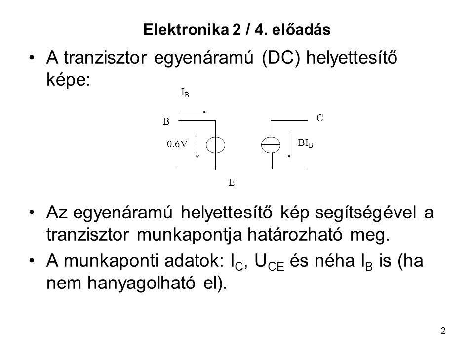 A tranzisztor egyenáramú (DC) helyettesítő képe: