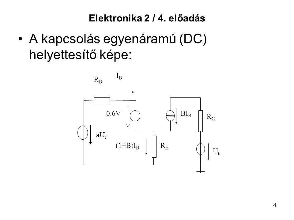 A kapcsolás egyenáramú (DC) helyettesítő képe: