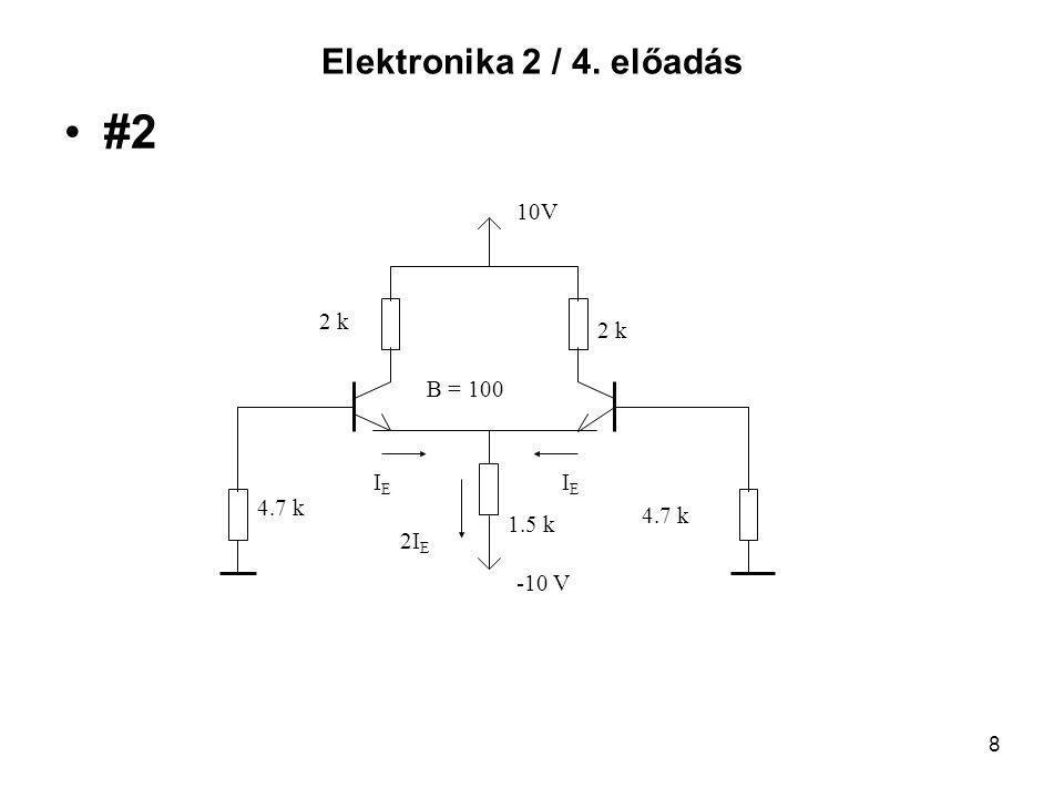 Elektronika 2 / 4. előadás #2 10V 2 k B = 100 IE 4.7 k 2IE 1.5 k -10 V