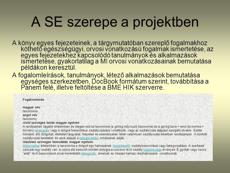 A SE szerepe a projektben