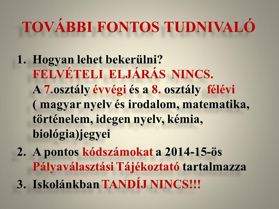 TOVÁBBI FONTOS TUDNIVALÓ