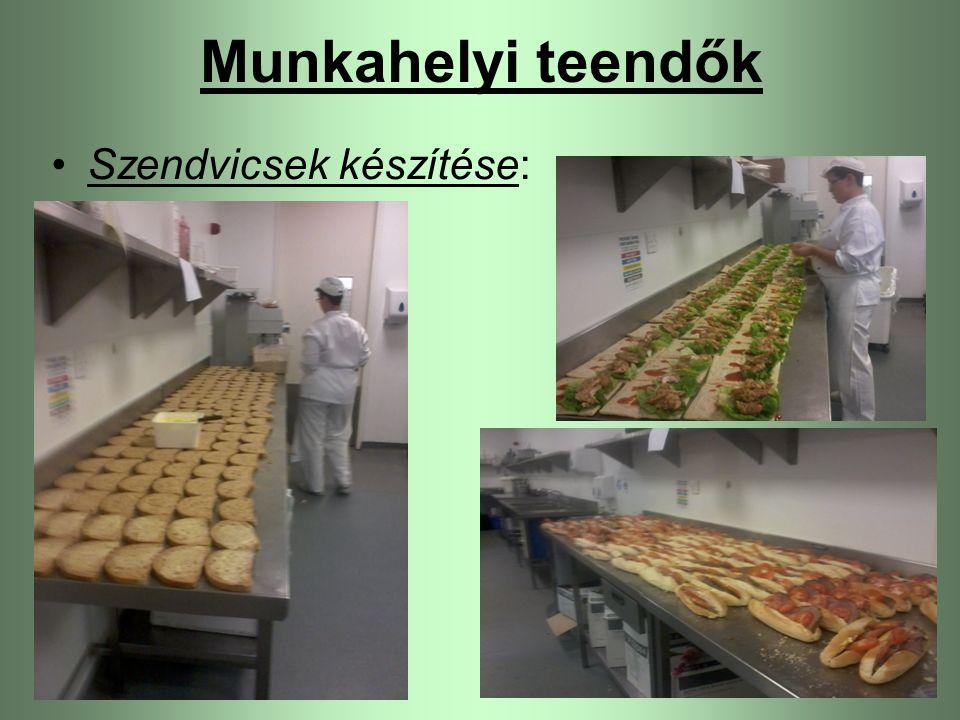 Munkahelyi teendők Szendvicsek készítése: