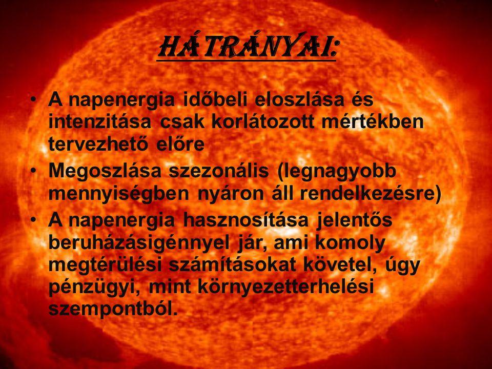 Hátrányai: A napenergia időbeli eloszlása és intenzitása csak korlátozott mértékben tervezhető előre.