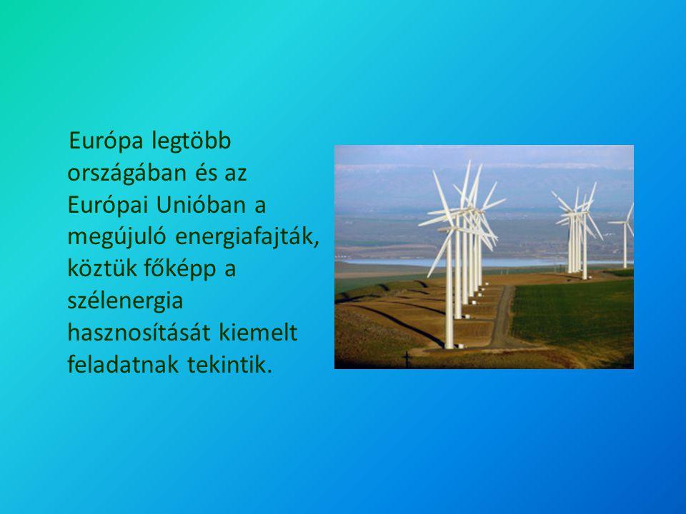 Európa legtöbb országában és az Európai Unióban a megújuló energiafajták, köztük főképp a szélenergia hasznosítását kiemelt feladatnak tekintik.