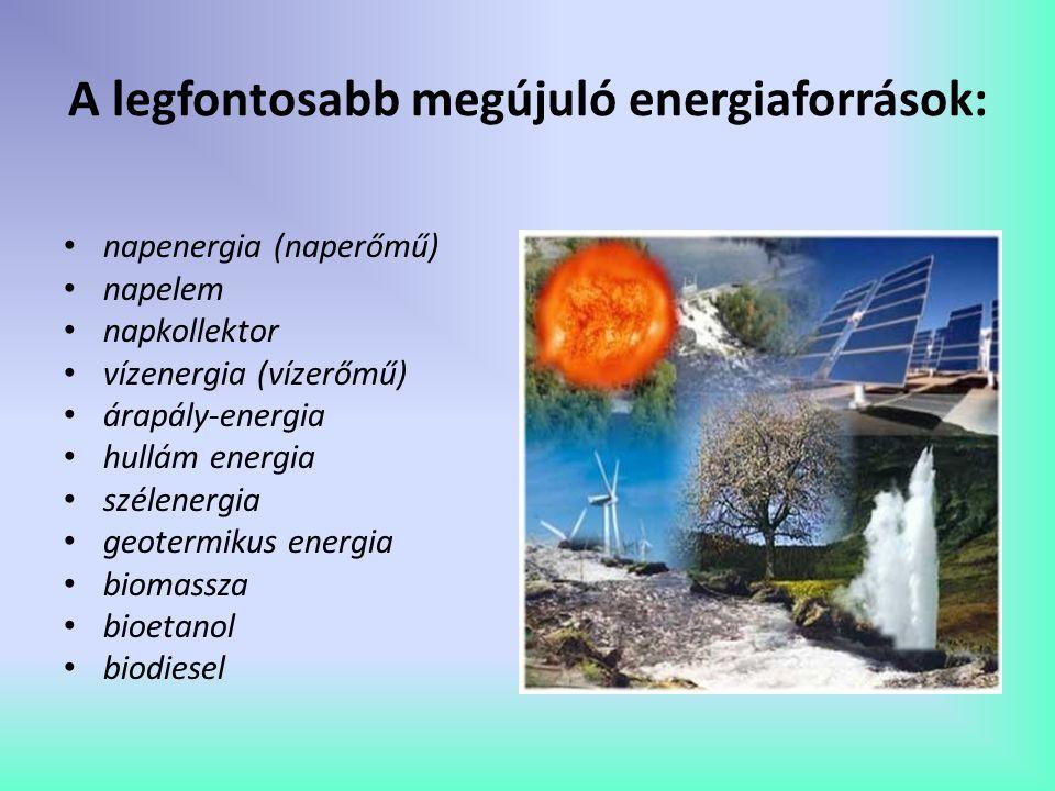 A legfontosabb megújuló energiaforrások: