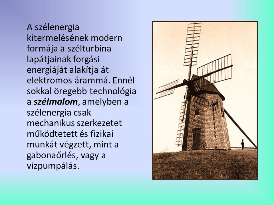 A szélenergia kitermelésének modern formája a szélturbina lapátjainak forgási energiáját alakítja át elektromos árammá.