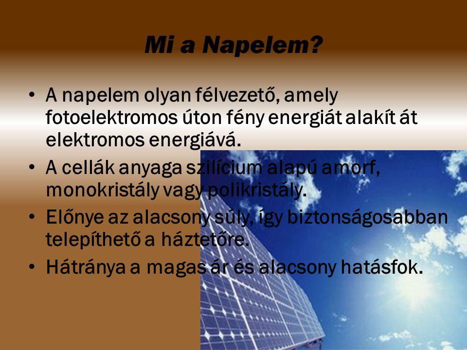 Mi a Napelem A napelem olyan félvezető, amely fotoelektromos úton fény energiát alakít át elektromos energiává.