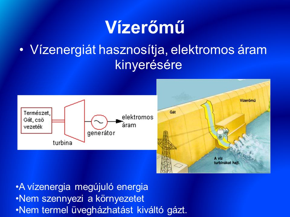 Vízenergiát hasznosítja, elektromos áram kinyerésére