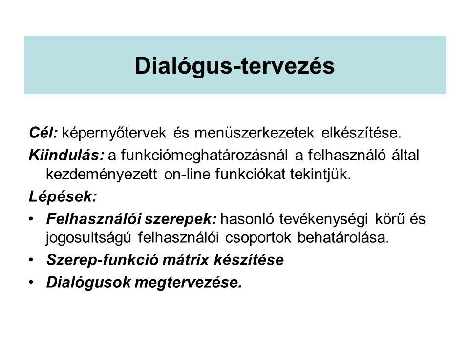 Dialógus-tervezés Cél: képernyőtervek és menüszerkezetek elkészítése.