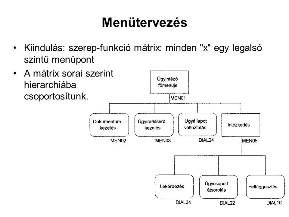 Menütervezés Kiindulás: szerep-funkció mátrix: minden x egy legalsó szintű menüpont.