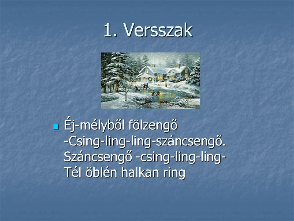 1. Versszak Éj-mélyből fölzengő -Csing-ling-ling-száncsengő.