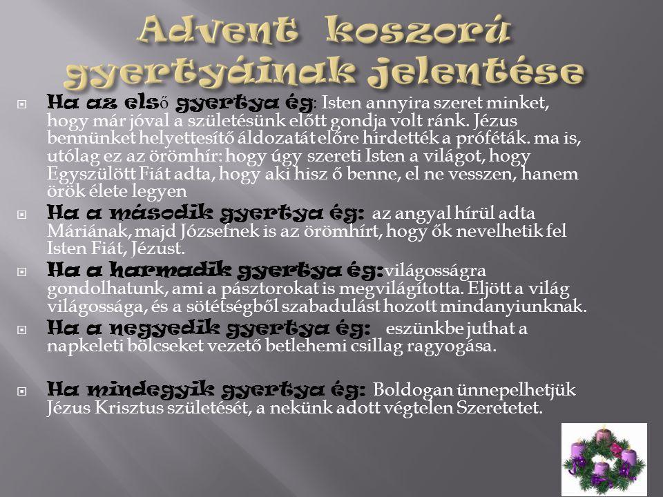 Advent koszorú gyertyáinak jelentése