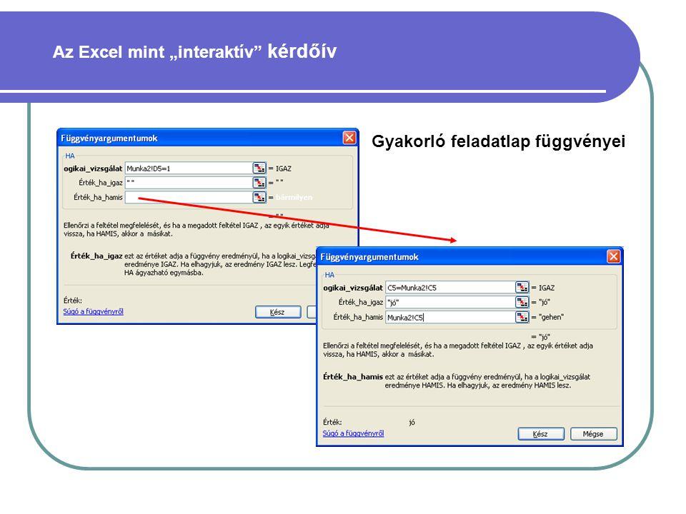 """Az Excel mint """"interaktív kérdőív"""