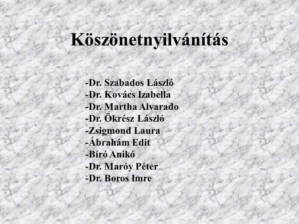 Köszönetnyilvánítás -Dr. Szabados László -Dr. Kovács Izabella