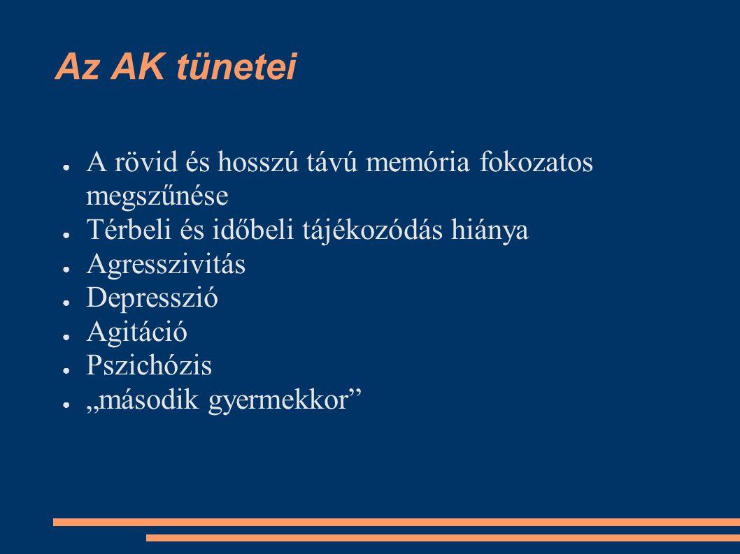 Az AK tünetei A rövid és hosszú távú memória fokozatos megszűnése