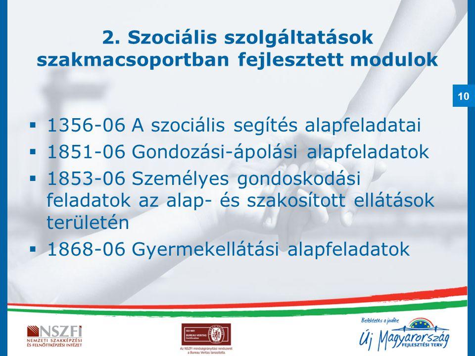 2. Szociális szolgáltatások szakmacsoportban fejlesztett modulok