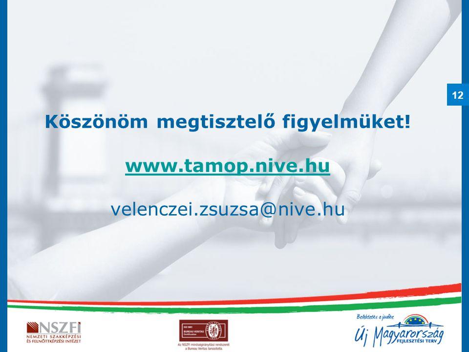 Köszönöm megtisztelő figyelmüket. www. tamop. nive. hu velenczei