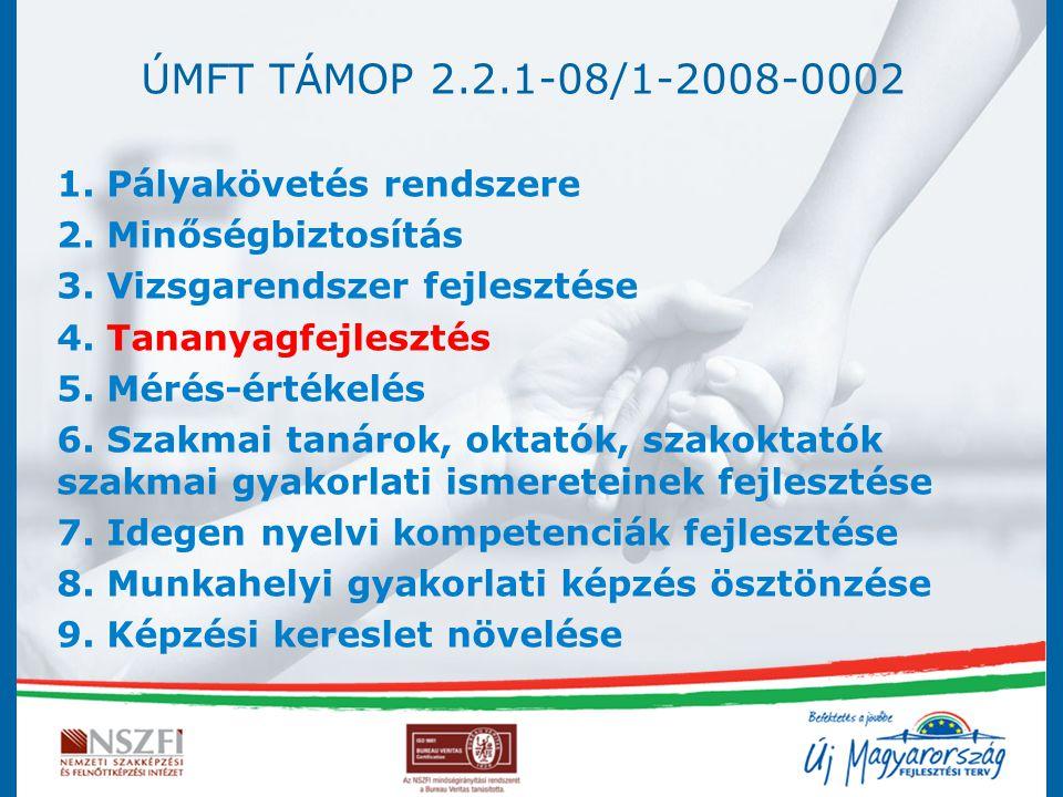 ÚMFT TÁMOP 2.2.1-08/1-2008-0002 1. Pályakövetés rendszere