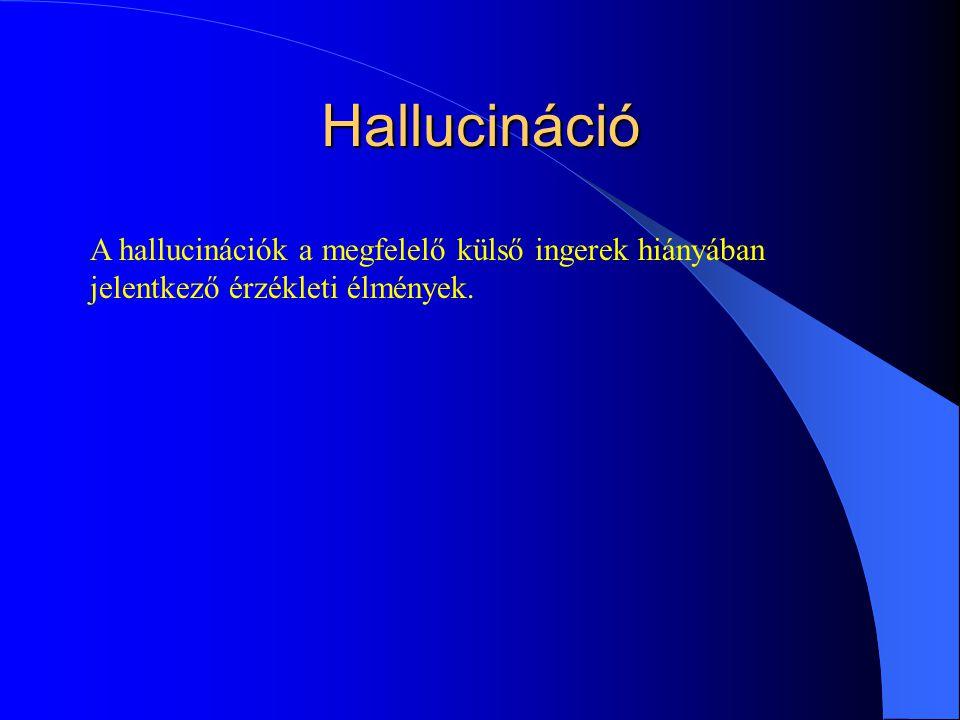 Hallucináció A hallucinációk a megfelelő külső ingerek hiányában jelentkező érzékleti élmények.