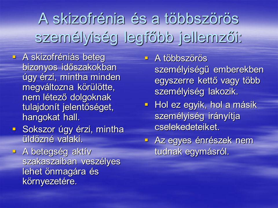A skizofrénia és a többszörös személyiség legfőbb jellemzői:
