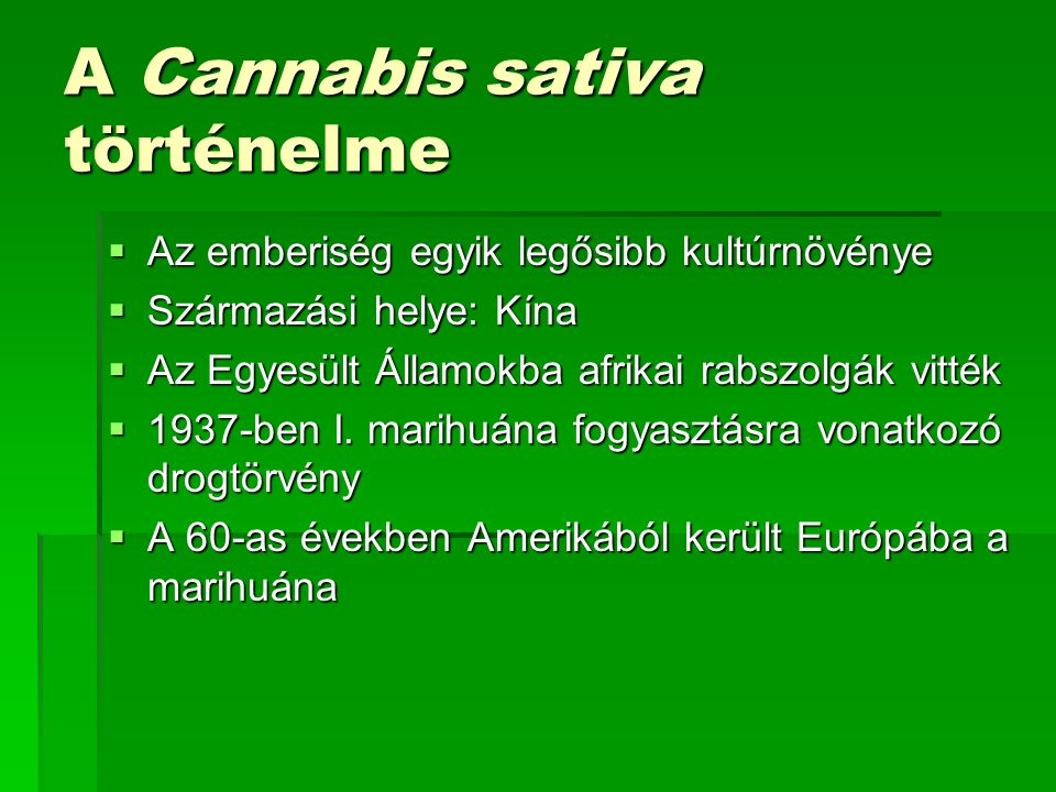 A Cannabis sativa történelme