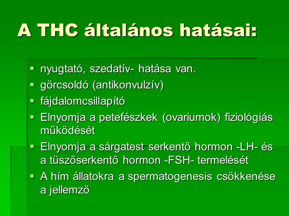 A THC általános hatásai: