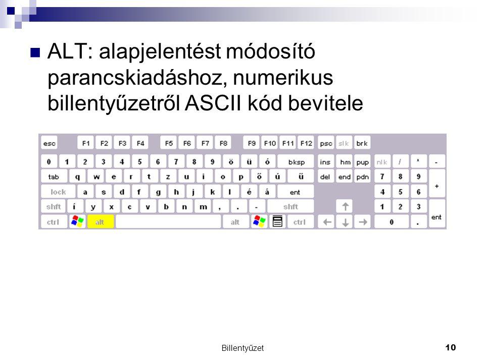 ALT: alapjelentést módosító parancskiadáshoz, numerikus billentyűzetről ASCII kód bevitele