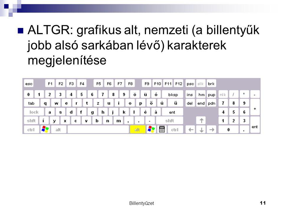 ALTGR: grafikus alt, nemzeti (a billentyűk jobb alsó sarkában lévő) karakterek megjelenítése