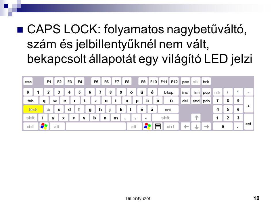 CAPS LOCK: folyamatos nagybetűváltó, szám és jelbillentyűknél nem vált, bekapcsolt állapotát egy világító LED jelzi