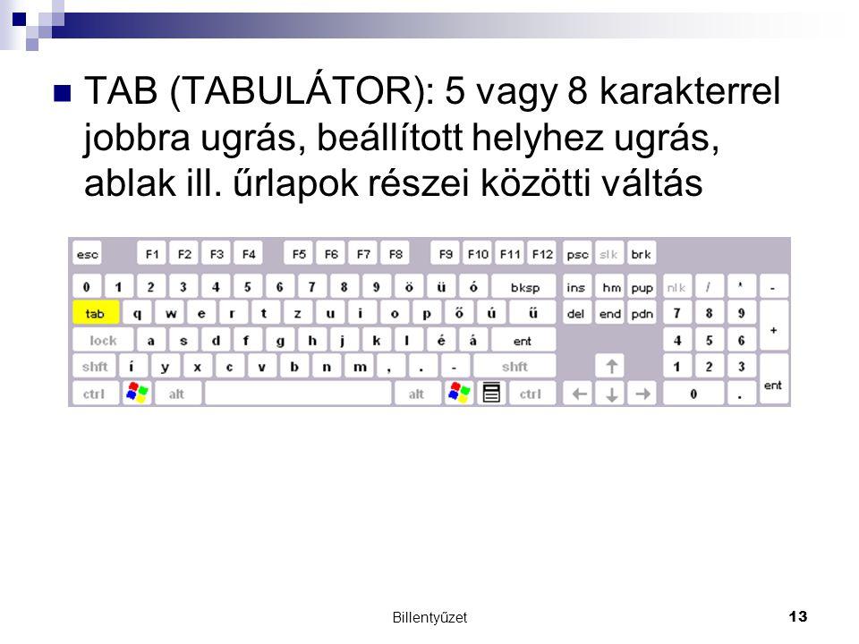 TAB (TABULÁTOR): 5 vagy 8 karakterrel jobbra ugrás, beállított helyhez ugrás, ablak ill. űrlapok részei közötti váltás