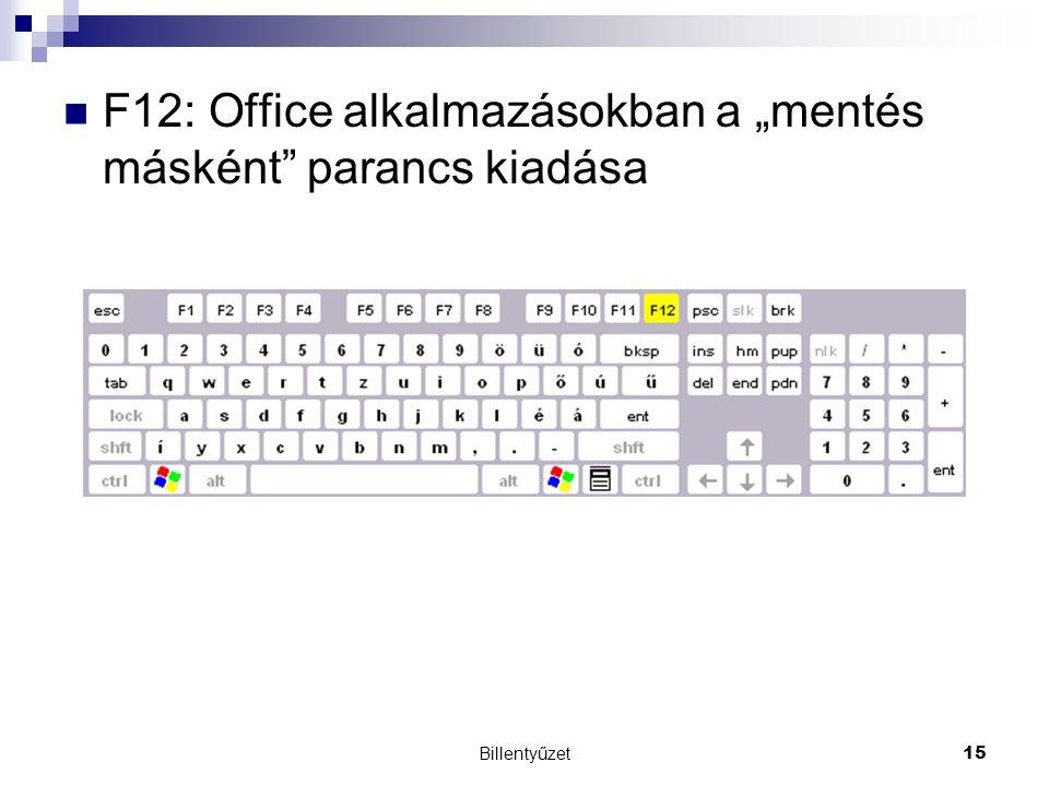 """F12: Office alkalmazásokban a """"mentés másként parancs kiadása"""
