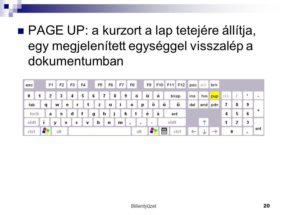 PAGE UP: a kurzort a lap tetejére állítja, egy megjelenített egységgel visszalép a dokumentumban