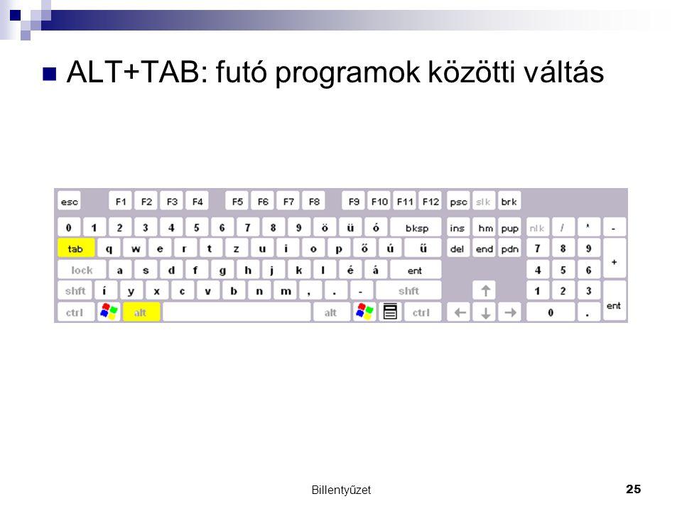 ALT+TAB: futó programok közötti váltás