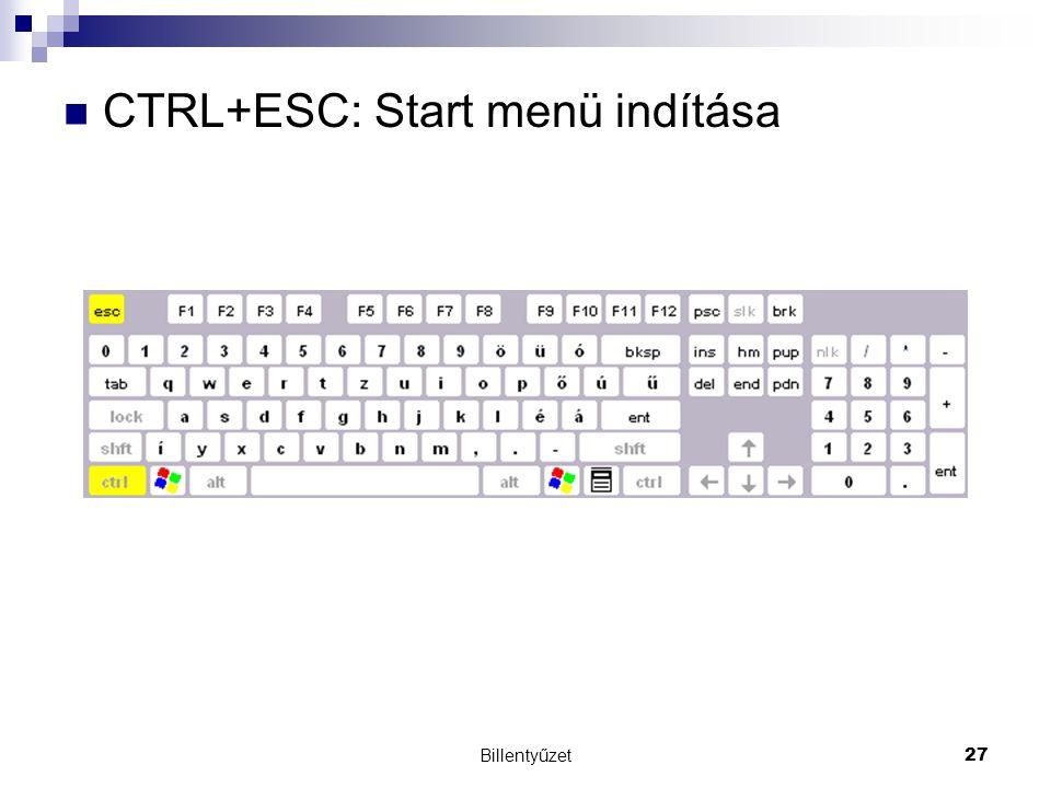 CTRL+ESC: Start menü indítása