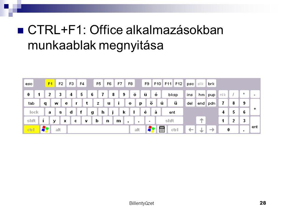 CTRL+F1: Office alkalmazásokban munkaablak megnyitása
