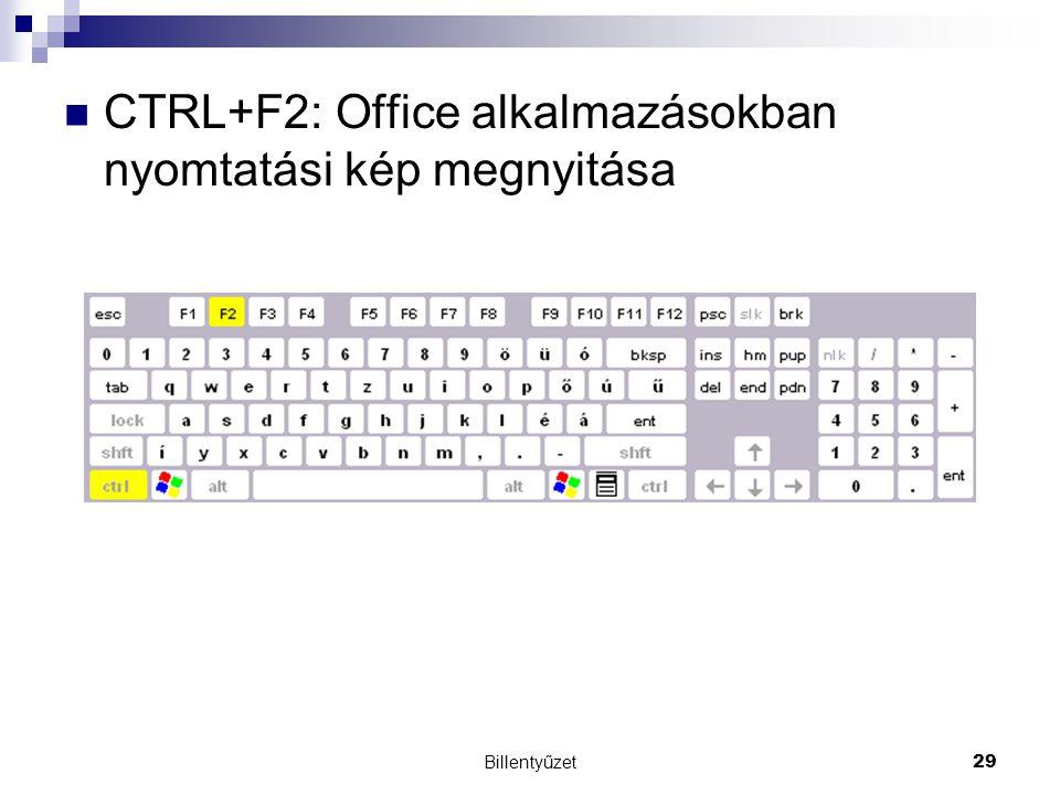 CTRL+F2: Office alkalmazásokban nyomtatási kép megnyitása